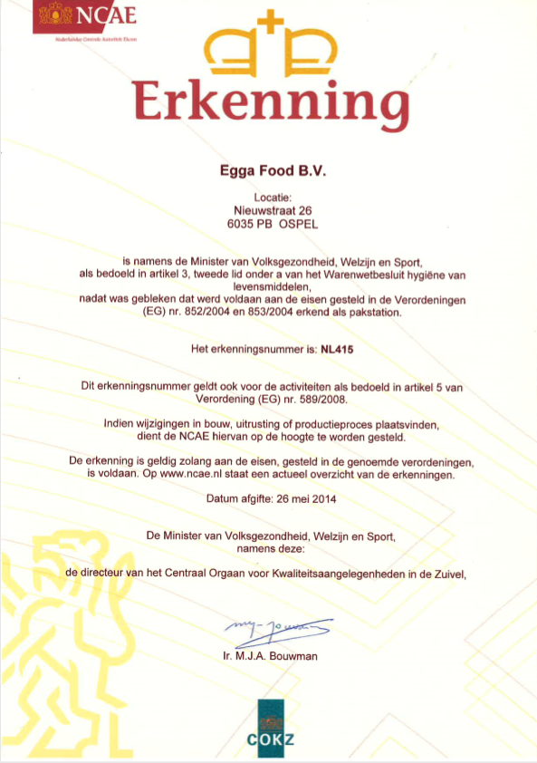 Certifications Of Quality Egga Food