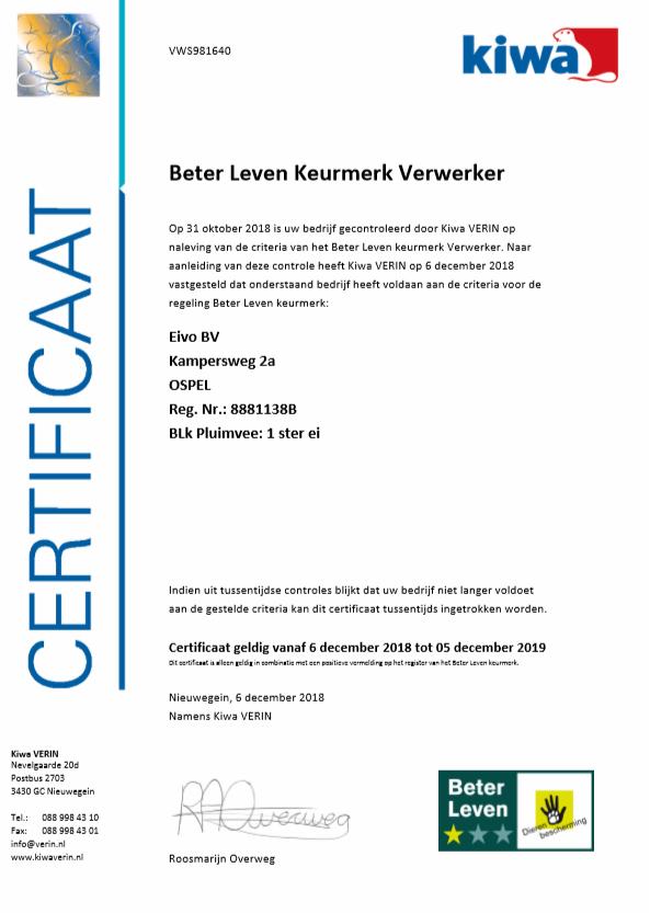 BLK certificaat EIVO BV 2018