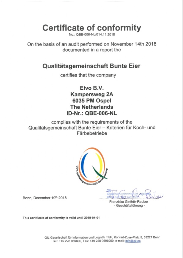 KAT certificaat EIVO bv 2018 EIVO Egga Food