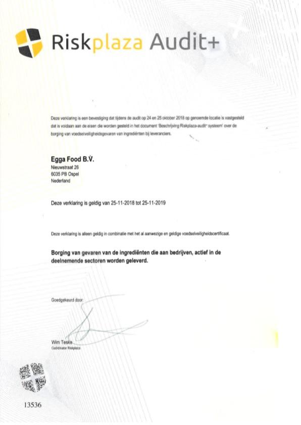 Riskplaza certificaat Egga Food BV 2018